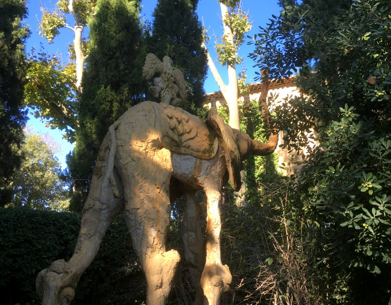 Dali's trademark elephants in the gardens at Gala's castle in Pubol