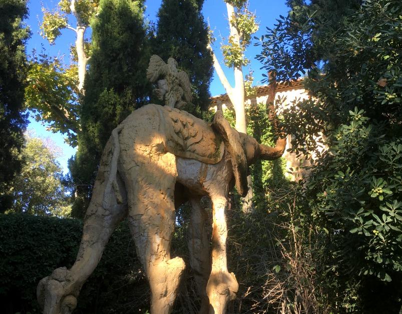 Dali's trademark elephants in the gardens at Gala's castle in Pubol