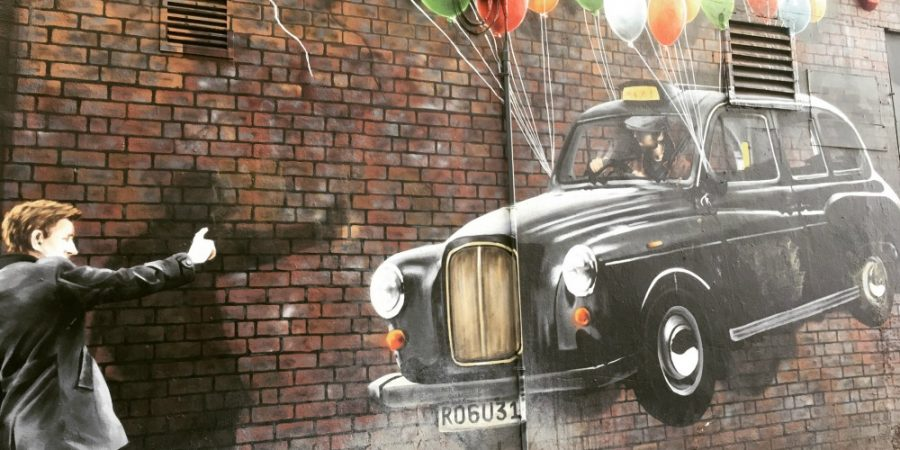 Glasgow - Street Art Mural, Taxi + Balloons, world's Most economical taxi
