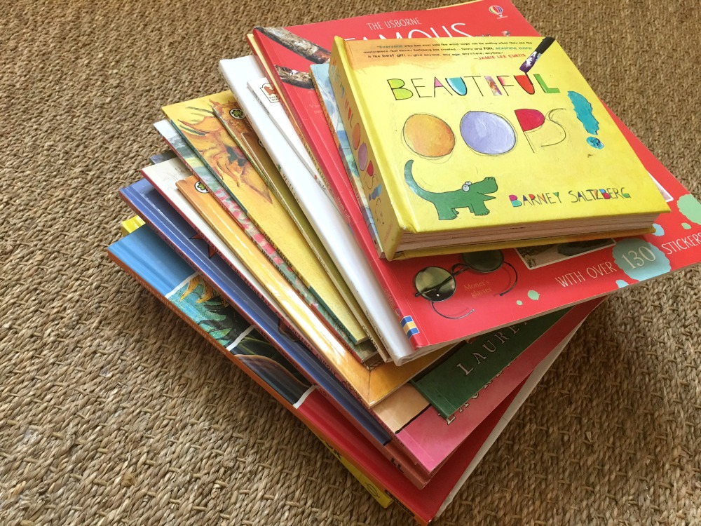 Pile of Inspiring Art Books for Kids